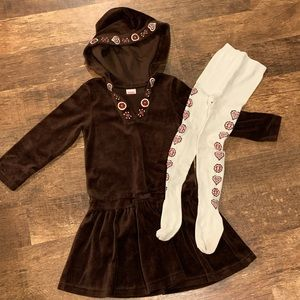 Girls Gymboree hooded velour dress and tights